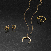 14K Gold Plated Crescent Necklace