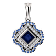 Del Francis Studio 4.0mm Blue and Ceylon Sapphire and Diamond Square Pendant in 18K White Gold