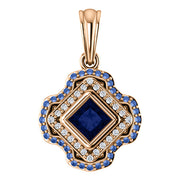 Del Francis Studio 4.0mm Blue and Ceylon Sapphire and Diamond Square Pendant in 18K Rose Gold