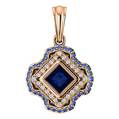 Del Francis Studio 4.0mm Blue and Ceylon Sapphire and 1/5 CT. T.W. Diamond Square Pendant in 18K Rose Gold