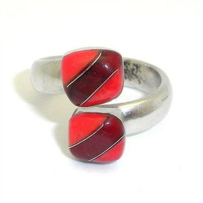 Two Cube Coral Bloodstone Alpaca Silver Wrap Ring Handmade and Fair Trade