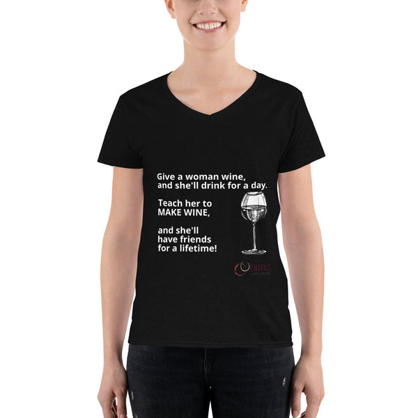 Teach Women to Make Wine - Women's Casual V-Neck Shirt