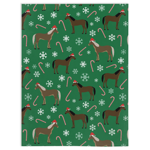 Fluffy Layers Horses and Candy Canes Super Plush Minky Blankets - Fluffy Layers