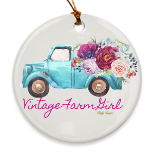 Fluffy Layers Vintage Farm Girl ( blue truck) Porcelain Ornaments - Fluffy Layers