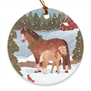 Fluffy Layers Christmas Ponies Porcelain Ornament - Fluffy Layers