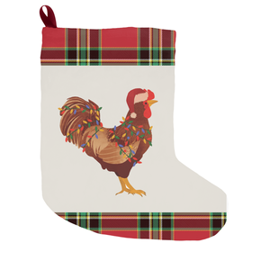 Fluffy Layers Rooster w/lights and Santa Hat Christmas Stocking - Fluffy Layers