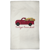 Fluffy Layers Vintage Farm Girl Dish Towel-Fluffy Layers