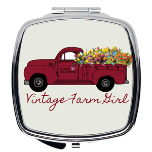 Fluffy Layers Vintage Farm Girl Compact Mirror-Fluffy Layers