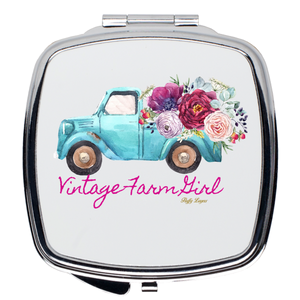 Fluffy Layers Vintage Farm Girl ( blue truck) Compact Mirror - Fluffy Layers