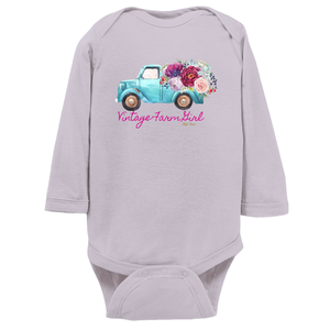 Fluffy Layers Vintage Farm Girl ( blue truck) Onesie - Fluffy Layers