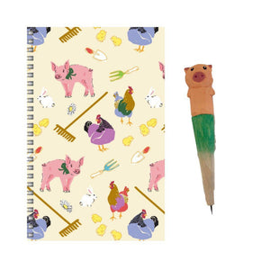 Fluffy Layers Gardening Pigs & Hens Notebook + Pen Set ( Pig) - Fluffy Layers