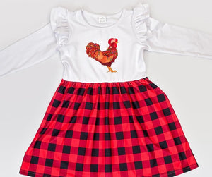 Fluffy Layers Christmas Rooster Long Sleeve Dress w/ ruffle sleeves ( Toddler Sizing)-Fluffy Layers