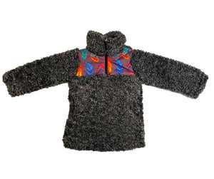 Fluffy Layers Feathers Super Fluffy Dark Grey Sherpa Quarter Zip Jackets (Toddler) - Fluffy Layers