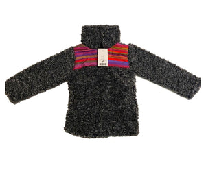 Fluffy Layers Serape Super Fluffy Dark Grey Sherpa Quarter Zip Jackets (Toddler) - Fluffy Layers