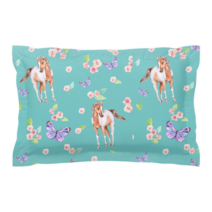 Fluffy Layers Ponies & Butterflies Pillow Sham-Fluffy Layers