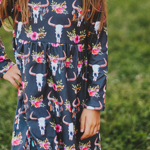 Fluffy Layers Bull Skulls & Flowers Simply Easy Long Sleeve Dress ( Girls Sizing)-Fluffy Layers