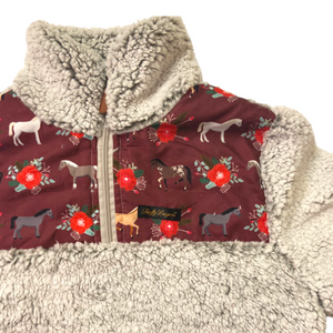 Fluffy Layers Horses and Roses Super Fluffy Sherpa Quarter Zip Jackets (Ladies) - Fluffy Layers