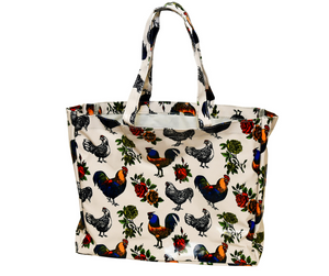 Fluffy Layers PVC Tote Bags ( rooster & roses)-Fluffy Layers