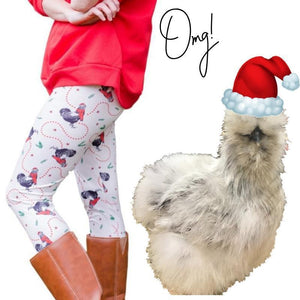 Adult Fluffy Layers Christmas Chickens Leggings - Fluffy Layers