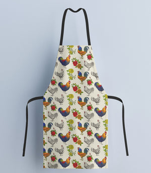 Fluffy Layers Rooster and Roses Kitchen Apron ( available in adult & youth sizes) - Fluffy Layers