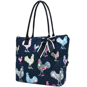 Fluffy Layers Rooster Garden Quilted Tote Bag - Fluffy Layers