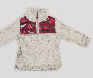 Fluffy Layers Horses and Roses Super Fluffy Sherpa Quarter Zip Jackets (Girls) - Fluffy Layers
