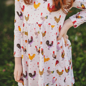 Fluffy Layers Chickens N' Leopard Simply Easy Long Sleeve Dress ( Toddler Sizing)-Fluffy Layers