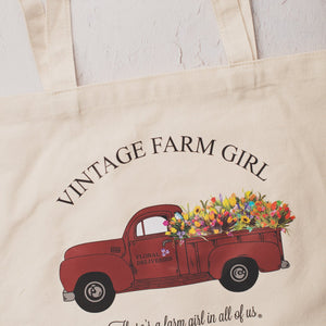 Vintage Farm Girl Fluffy Layers Canvas Totes-Tote Bags & Drawstring Bags-Fluffy Layers