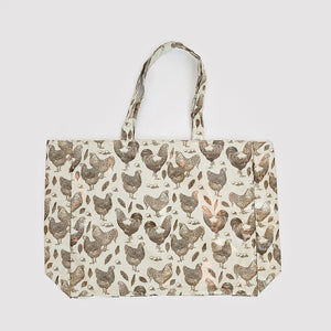 Fluffy Layers PVC Tote Bags (classic chickens cream & brown) - Fluffy Layers