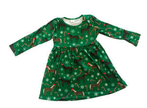 Fluffy Layers Horses & Candy Canes Long Sleeve Dress w/ ruffle sleeves ( Toddler Sizing)-Fluffy Layers