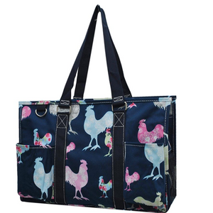 Fluffy Layers Rooster Garden Canvas Tote Bag, Medium-Fluffy Layers