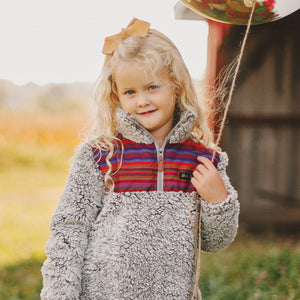 SUPER CLEARANCE-Fluffy Layers Serape Super Fluffy Sherpa Quarter Zip Jackets (Toddler) - Fluffy Layers