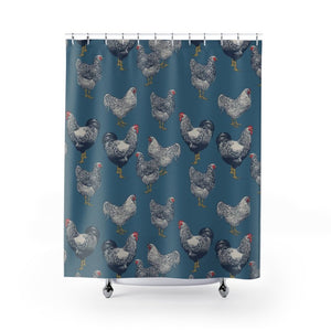 Fluffy Layers Chicken Blues Shower Curtain-Home Decor-Fluffy Layers