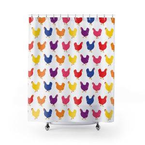 Fluffy Layers Color Pop Chickens Shower Curtain-Home Decor-Fluffy Layers