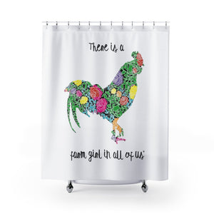 Fluffy Layers Floral Rooster Shower Curtain-Home Decor-Fluffy Layers