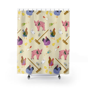 Fluffy Layers Gardening Piglets Shower Curtain-Home Decor-Fluffy Layers