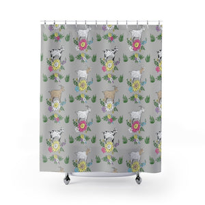 Fluffy Layers Goat Party Shower Curtains-Home Decor-Fluffy Layers