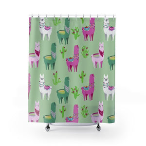 Fluffy Layers Llama Drama Shower Curtains-Home Decor-Fluffy Layers