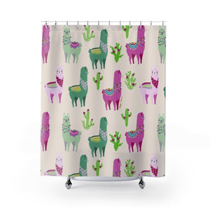 Fluffy Layers Llama Drama ( white) Shower Curtains-Home Decor-Fluffy Layers