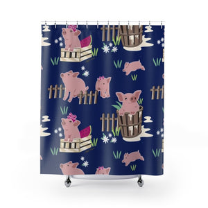 Fluffy Layers Precious Piglets Shower Curtains-Home Decor-Fluffy Layers