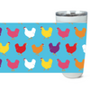 Fluffy Layers Rainbow Chickens ( blue) Double Wall Insulated Stainless Steel Travel Mug, Tumbler, Coffee Mug-Fluffy Layers