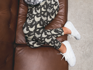 Adult Fluffy Layers Black and White Chicken Party Leggings - Fluffy Layers