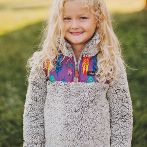 Fluffy Layers Feathers Super Fluffy Sherpa Quarter Zip Jackets (Toddler) - Fluffy Layers