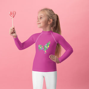 Fluffy Layers Floral Rooster Rash Guard-Fluffy Layers
