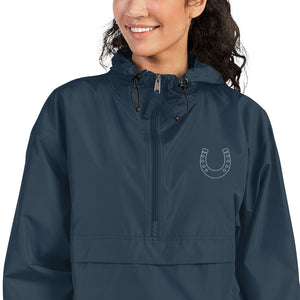 Fluffy Layers Customizable Horse Shoe Embroidered Packable Jacket with Hood (navy)-Fluffy Layers