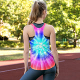 Fluffy Layers Tie-Dye Horse Women's Racerback Tank-Fluffy Layers