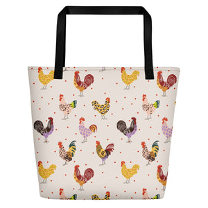 Fluffy Layers Chickens N'Leopard Jumbo Beach Tote-Fluffy Layers
