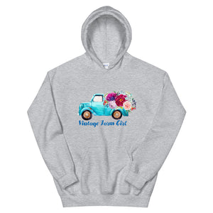 Fluffy Layers Vintage Farm Girl ( blue truck Loose Fit Hoodie - Fluffy Layers