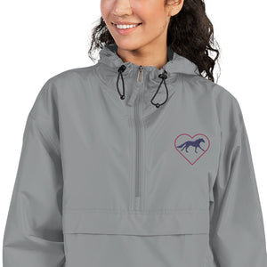 Fluffy Layers Customizable Horse Love Embroidered Packable Jacket with Hood (gray) - Fluffy Layers