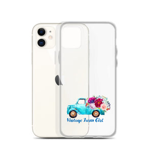 Fluffy Layers Vintage Farm Girl ( blue truck) iPhone Case - Fluffy Layers